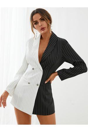 YOINS Striped Patchwork Button Front Mini Dress
