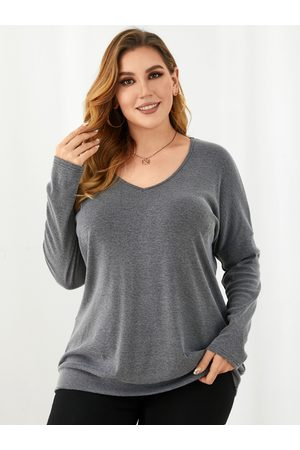 YOINS Plus Size V-neck Fluffy Knit Long Sleeves Tee