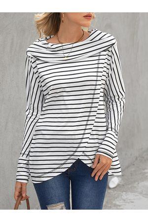 YOINS White Striped Crossed Front Design Long Sleeves Sweatshirt