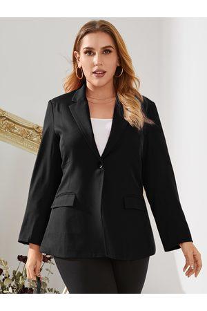 YOINS Plus Size Lapel Collar Pocket Design Long Sleeves Blazer