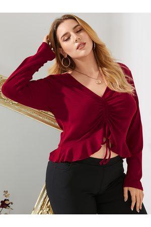 YOINS Plus Size V-neck Drawstring Long Sleeves Tee