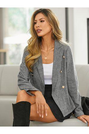 YOINS Plaid Lapel Collar Long Sleeves Blazer