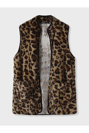 YOINS BASICS Leopard Side Pockets Teddy Waistcoat