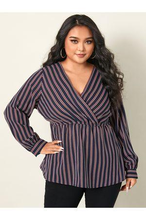 YOINS Plus Size V-neck Striped Wrap Design Long Sleeves Blouse