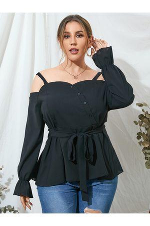 YOINS Plus Size Cold Shoulder Backless Design Belt Design Long Sleeves Blouse