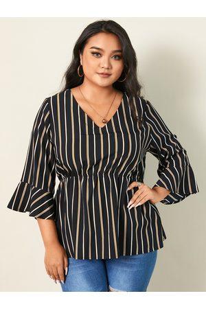 YOINS Plus Size V-neck Striped 3/4 Length Sleeves Blouse