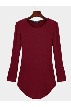 YOINS BASICS Round Neck Curved Hem Bodycon Fit Dress in Burgundy