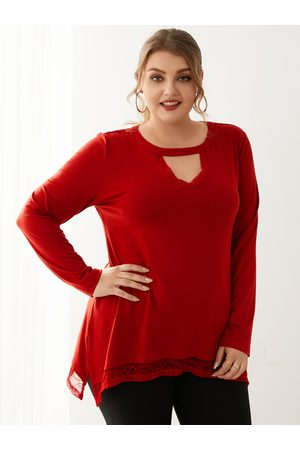YOINS Plus Size Crew Neck Button Keyhole Design Cut Out Long Sleeves Tee