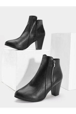 YOINS Side Zipper Thick Heel Leather Ankle Boots