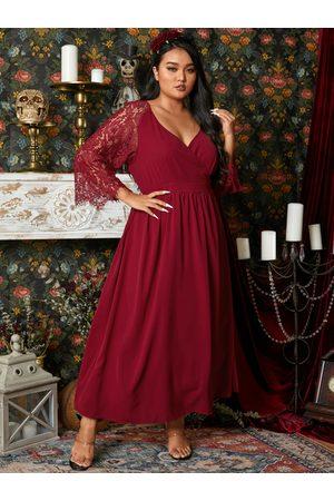 YOINS Women Maxi Dresses - Plus Size Halloween V-neck Wrap Design 3/4 Length Sleeves Maxi Dress