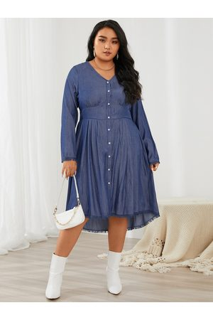 YOINS Women Midi Dresses - Plus Size V-neck Tassel Details Long Sleeves Midi Dress