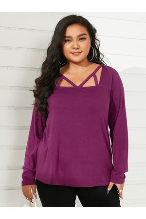YOINS Plus Size Square Neck Hollow Design Long Sleeves Tee