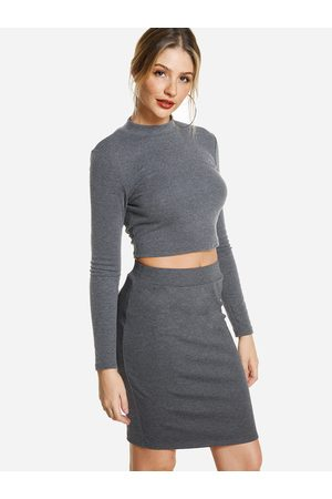 YOINS BASICS Grey Plain Perkins Collar Long Sleeves Bodycon Fit Top