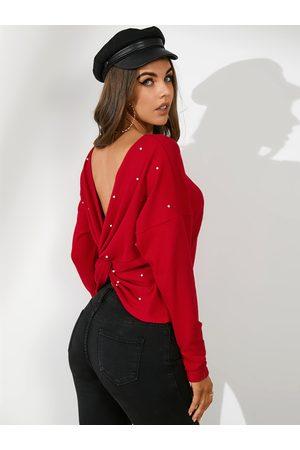 YOINS Backless Handmade Beaded Round Neck Long Sleeves Sweatshirt