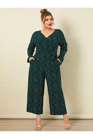 YOINS Plus Size V-neck Polka Dot Side Pockets Long Sleeves Jumpsuit