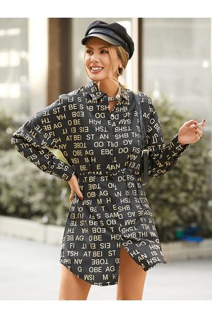 YOINS Lapel Collar Letter Long Sleeves Dress