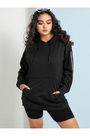 YOINS Plus Size Striped Drawstring Hooded Design Long Sleeves Sweatshirt