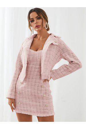 YOINS Tweed Plaid Button Design Top & Mini Skirt Set