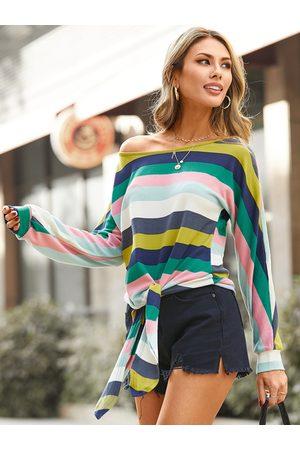 YOINS Color Block Stripe Tie-up Design Knit Top