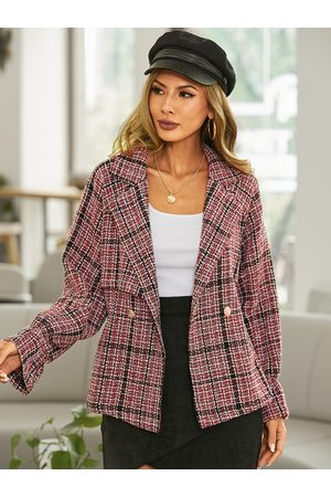 YOINS Plaid Button Design Lapel Collar Long Sleeves Coat