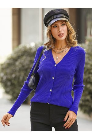 YOINS Button Design Long Sleeves V-neck Ribbed Knit Top
