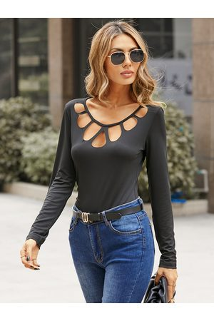 YOINS Cut Out Round Neck Long Sleeves Tee