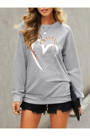 YOINS Heart Pattern Crew Neck Long Sleeves Sweatshirt