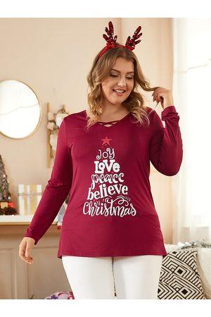 YOINS Plus Size V-neck Letter Criss-cross Christmas Long Sleeves Tee