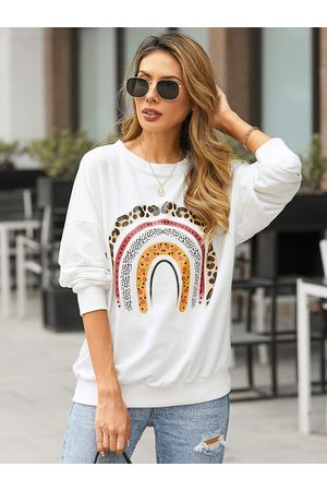 YOINS Rainbow Print Crew Neck Long Sleeves Sweatshirt