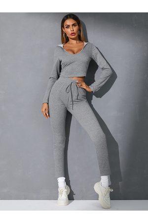 YOINS Drawstring Hooded Design Long Sleeves Tracksuit
