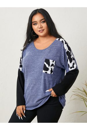 YOINS Plus Size Round Neck Patchwork Long Sleeves Tee