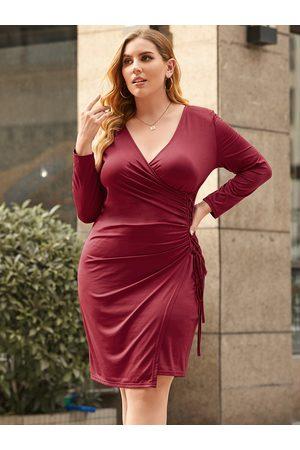 YOINS Plus Size Deep V Neck Lace-up Design Wrap Design Knit Long Sleeves Mini Dress