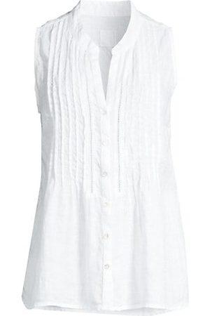 120% Lino Sleeveless Embroidered Picot Linen Shirt