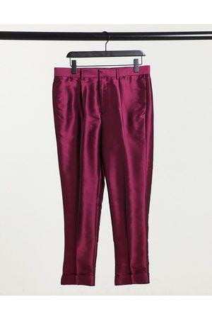 ASOS Tapered smart trousers in sateen with turn up