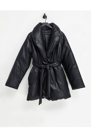 ASOS Leather look belted puffer jacket in