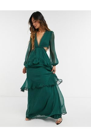 ASOS Maxi dress with long sleeve and circle trim in forest