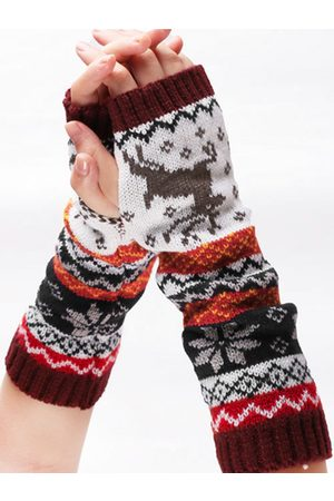 YOINS Half Finger Knitted Christmas Long Gloves