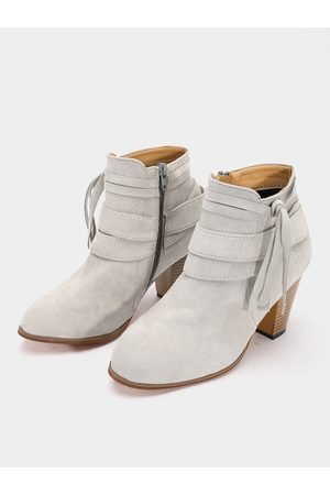 YOINS Side Zipper Suede Ankle Boots