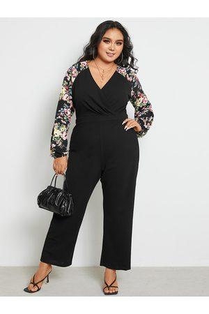 YOINS Plus Size V-neck Floral Print Wide Leg Wrap Design Long Sleeves Jumpsuit