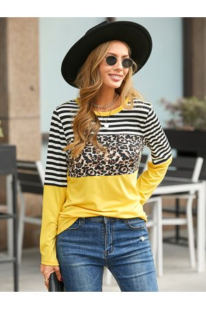 YOINS Striped Leopard Patchwork Crew Neck Long Sleeves Tee