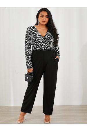 YOINS Plus Size V-neck Zebra Side Pockets Wrap Design Long Sleeves Jumpsuit