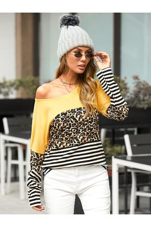 YOINS Striped Leopard Patchwork Round Neck Long Sleeves Tee