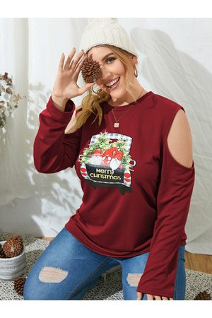 YOINS Plus Size Cold Shoulder Graphic Christmas Long Sleeves Sweatshirt