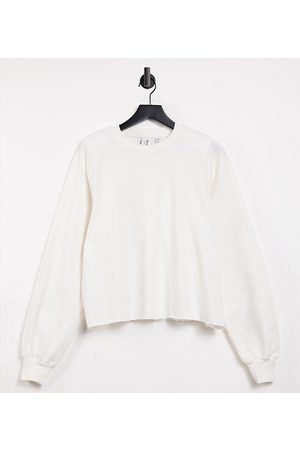 COLLUSION Oversized sweatshirt in ecru with shoulder pads