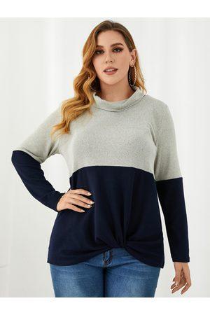 YOINS Plus Size Turtleneck Patchwork Twist Long Sleeves Sweater
