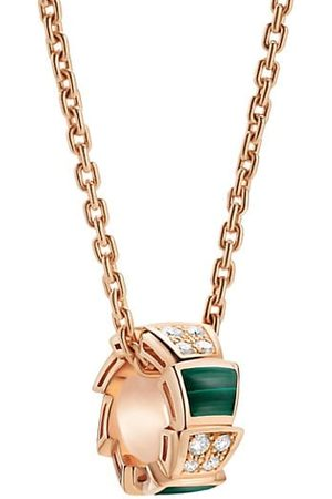Bvlgari Necklaces - Serpenti Viper 18K Rose , Diamond & Malachite Pendant Necklace