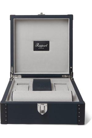 Rapport London Men Watches - Kensington Leather-Trimmed Studded Cedar Wood Watch Case
