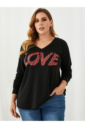 YOINS Plus Size V-neck Leopard Letter Knit Long Sleeves Sweatshirt
