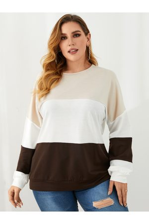 YOINS Plus Size Crew Neck Multicolor Fluffy Knit Long Sleeves Tee