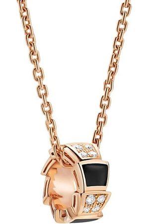 Bvlgari Necklaces - Serpenti Viper 18K Rose , Diamond & Onyx Pendant Necklace